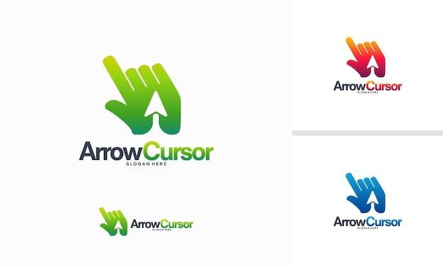 Vetor de conceito de projetos de logotipo do cursor de seta, vetor de modelo de logotipo do cursor rápido