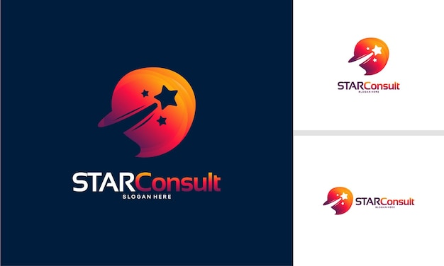 Vetor de conceito de projetos de logotipo star consult, modelo de logotipo iconic consulting