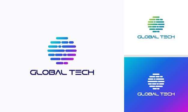 Vetor de conceito de projetos de logotipo world tech, símbolo de modelo de logotipo globe