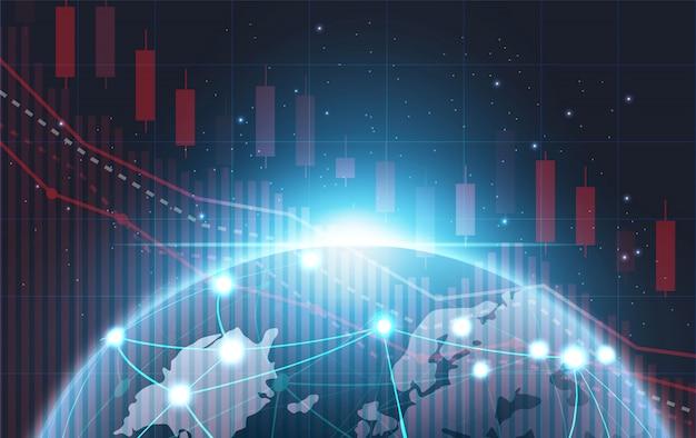 Vetor de conceito futurista do gráfico de ações de queda do mercado de ações, pneumonia.business tecnologia conceito background.illustration.world organização olhando o diagrama em queda. crise econômica e financeira