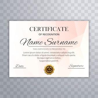 Vetor de concepção abstrata modelo de certificado