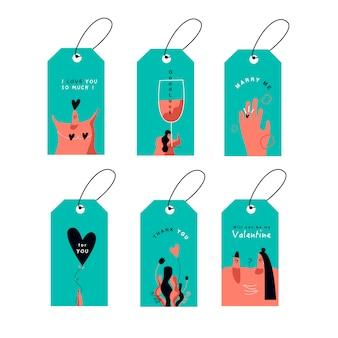 Vetor de conjunto de cartões de dia dos namorados
