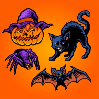 Vetor de conjunto de halloween