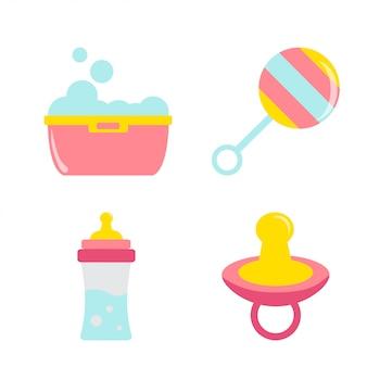 Vetor de conjunto de ícones de chuveiro de bebê