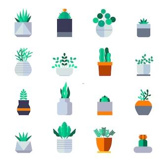 Vetor de conjunto de ícones de planta