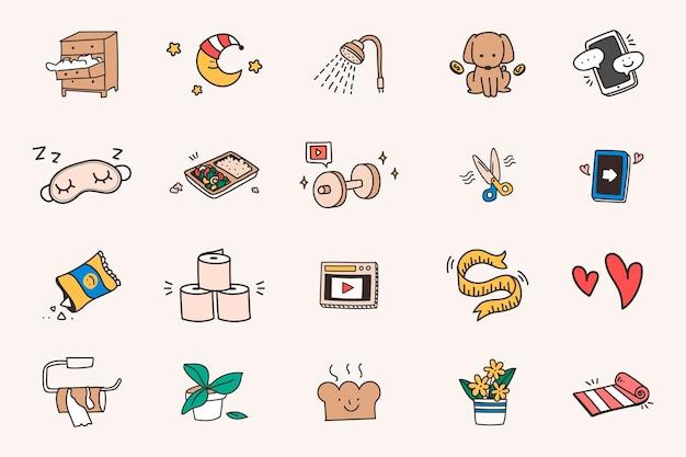 Vetor de conjunto de ícones de quarentena e distanciamento social fofo