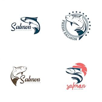 Vetor de conjunto de logotipo de peixe salmão