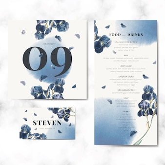 Vetor de conjunto de modelo de cartão de convite de casamento floral