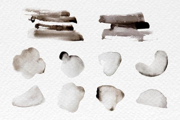 Vetor de conjunto de pincelada abstrato preto