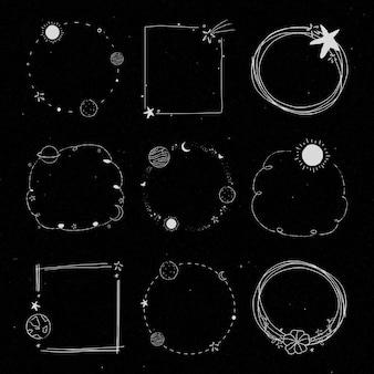 Vetor de conjunto de quadro de galáxia de arte de linha mínima