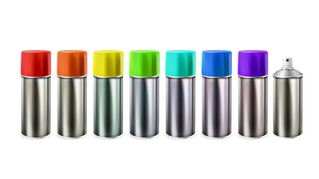 Vetor de conjunto de spray de garrafas em branco de tinta multicolorida. pacote de metal com tinta colorida diferente. líquido pintor para pintura de parede. ilustração 3d realista do modelo de ocupação criativa do artista