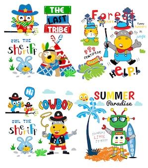Vetor de conjunto engraçado dos desenhos animados para camisa de bebê t e outro uso
