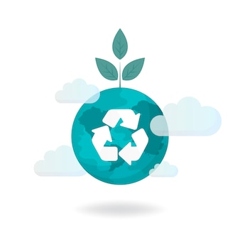 Vetor de conservação ambiental de símbolo de reciclagem