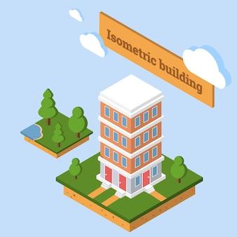Vetor de construção isométrica. prédio de apartamentos baixa cidade poli.