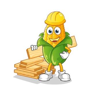 Vetor de construtor de milho. personagem de desenho animado