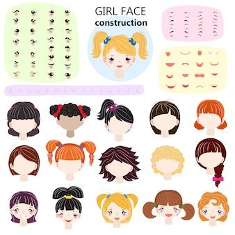 Vetor de construtor de rosto de menina crianças personagem avatar e criação feminina cabeça lábios ou olhos ilustração