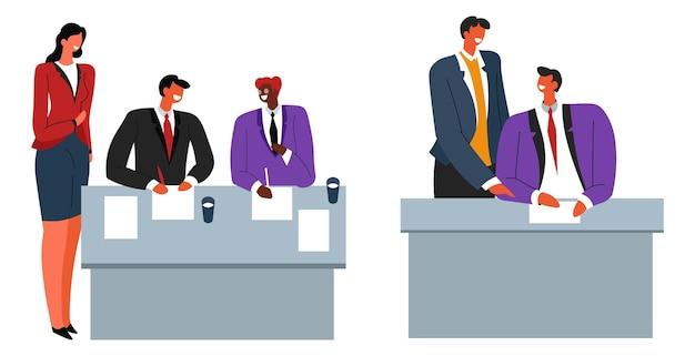 Vetor de contrato de pessoas assinando acordo de negócios