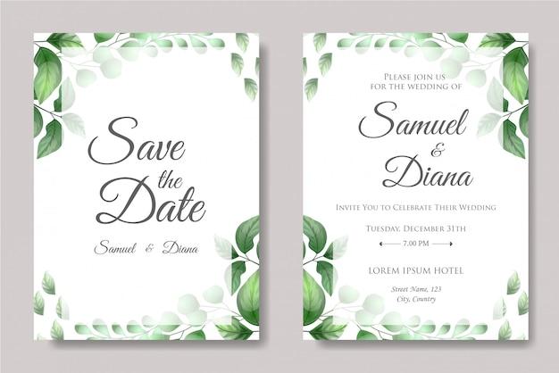Vetor de convite de casamento com folhas bonitas