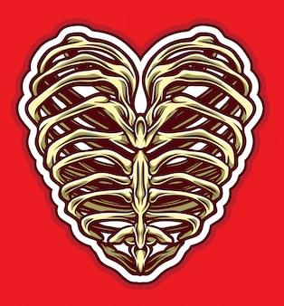Vetor de coração de osso
