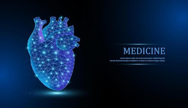 Vetor de coração isolado com centro de dor; wireframe e pontos de baixo poli