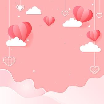 Vetor de corações balançando nuvem onda de fundo rosa