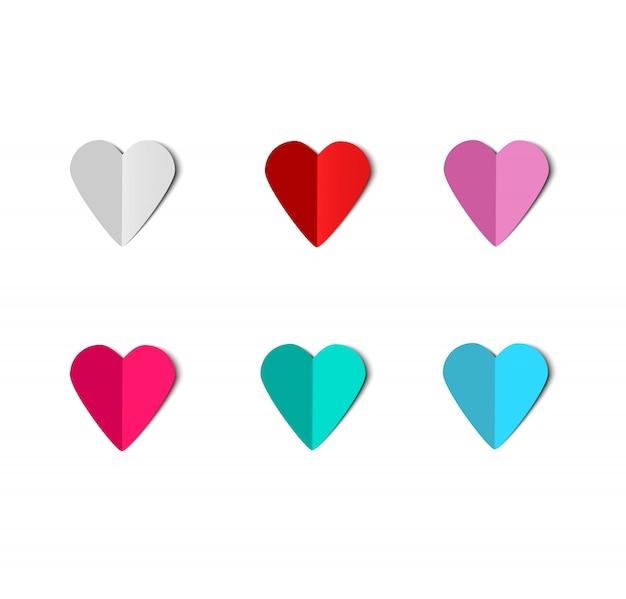 Vetor de corações de papel. papercut