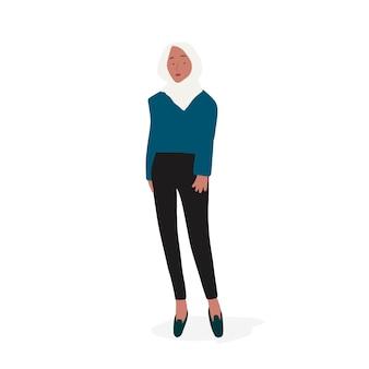 Vetor de corpo inteiro de mulher muçulmana forte