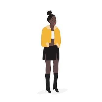 Vetor de corpo inteiro forte mulher afro-americana