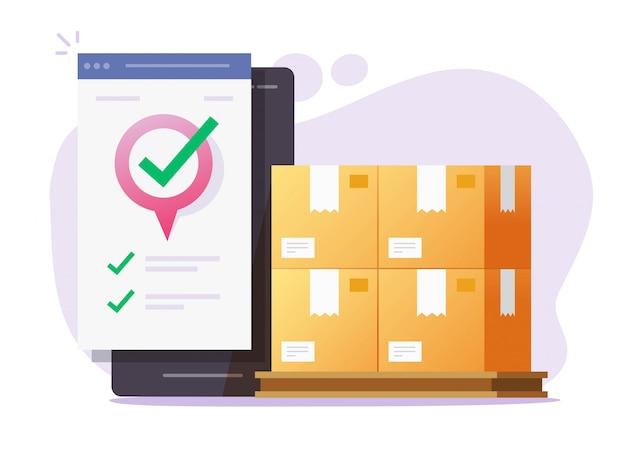 Vetor de correio móvel de carga logística e serviço on-line de transporte de entrega de frete no smartphone