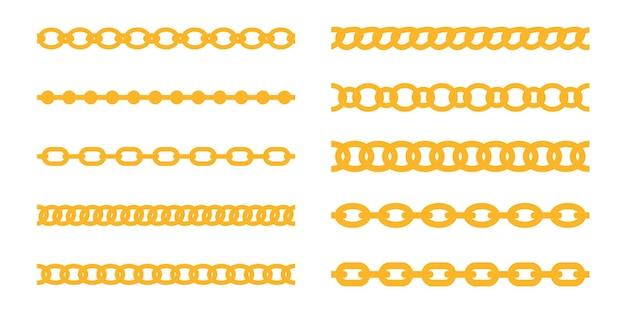 Vetor de corrente dourada. joias de luxo é feito de correntes de ouro entrelaçadas em uma linha.