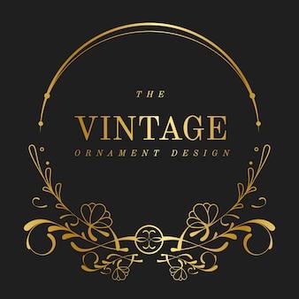 Vetor de crachá vintage art nouveau dourado