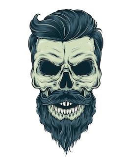 Vetor de crânio de barba