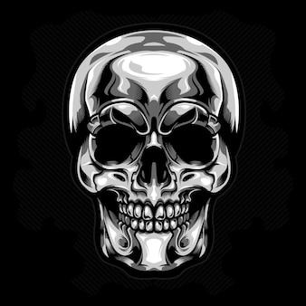 Vetor de crânio de cabeça de prata