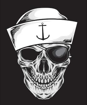Vetor de crânio de marinheiro
