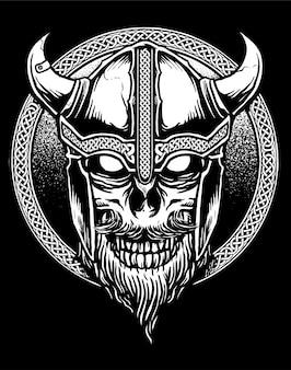 Vetor de crânio de viking