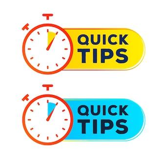 Vetor de cronômetro de rótulo de dicas rápidas definir estilo moderno para solução de emblema de dica de ferramenta e banner de conselho útil