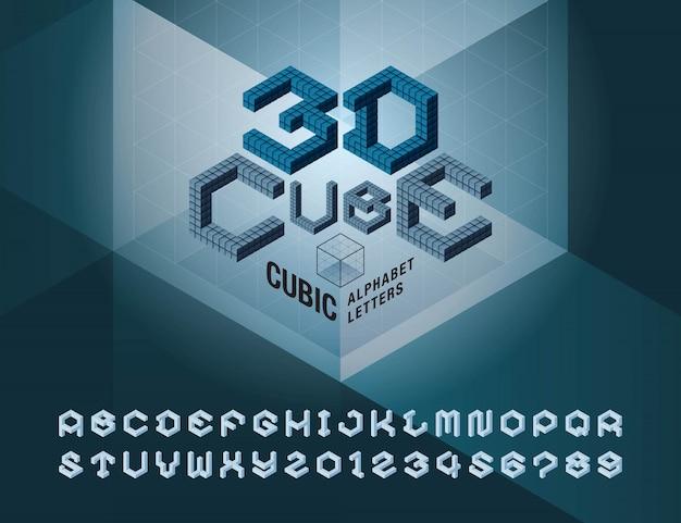 Vetor de cubo alfabeto letras e números, abstrato 3d hexágono estilizado fontes