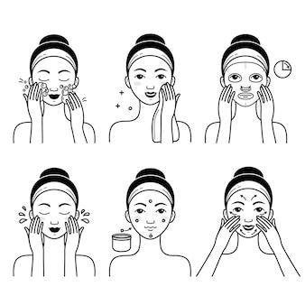 Vetor de cuidados da pele rosto definido com menina