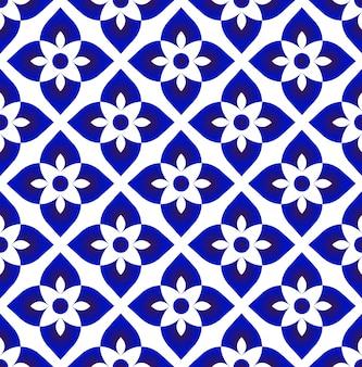 Vetor de decoração de arte cerâmica azul e branco simples