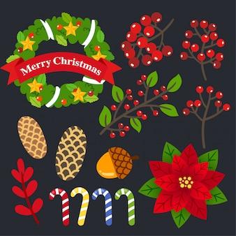 Vetor de decorações de natal.