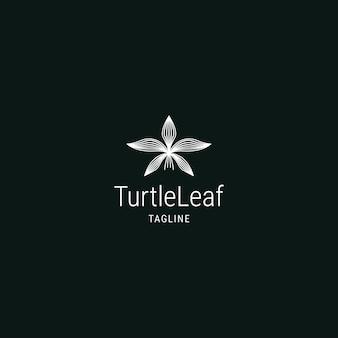 Vetor de desenho abstrato de linha de folha de tartaruga