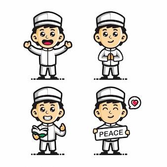 Vetor de desenho animado bonito menino muçulmano