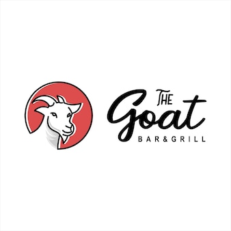 Vetor de desenho animado com logotipo de cabra e rosto de animal
