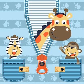 Vetor de desenho animado de animais alegres