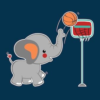 Vetor de desenho animado de basquete Vetor Premium