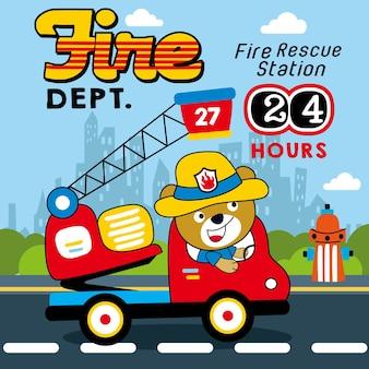 Vetor de desenho animado de equipe de resgate de fogo