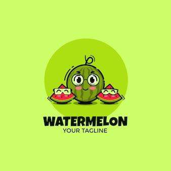 Vetor de desenho animado de mascote de melancia fofa