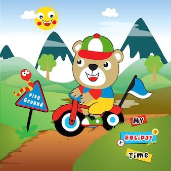 Vetor de desenho animado de motociclista