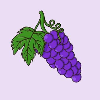 Vetor de desenho animado de uva isolado