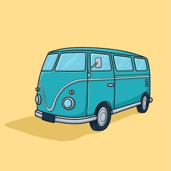 Vetor de desenho animado de van vintage